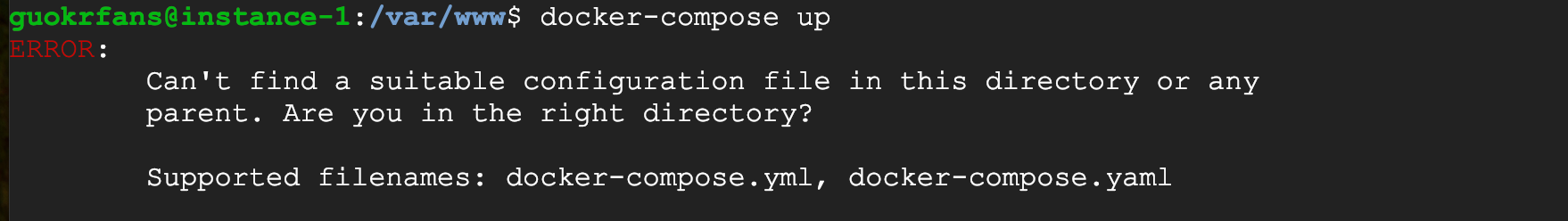 "2019-1-22 Docker ""Can't find a suitable configuration file"" Solution"